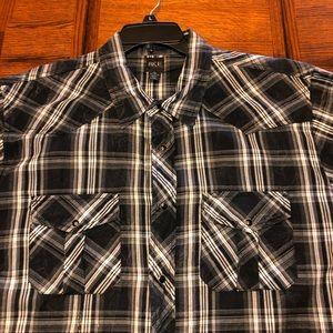 BKE Buckle black plaid shirt short sleeve XL